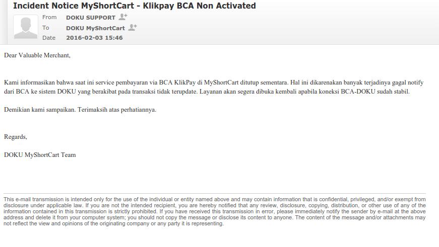 Email dari DOKU MyShortcart Perihal Layanan KlikPay BCA ditutup sementara