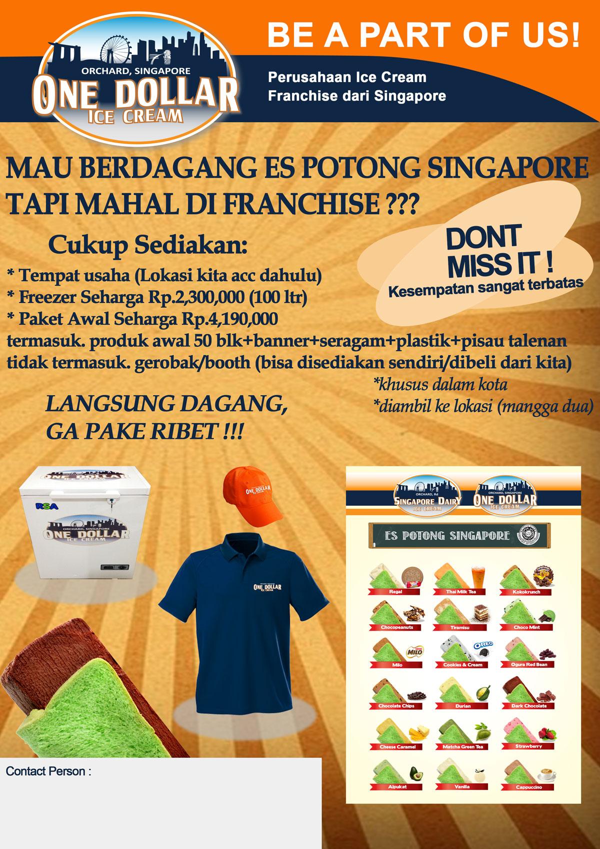 Brosur Waralaba Franchise OneDollar Es Potong Singapore