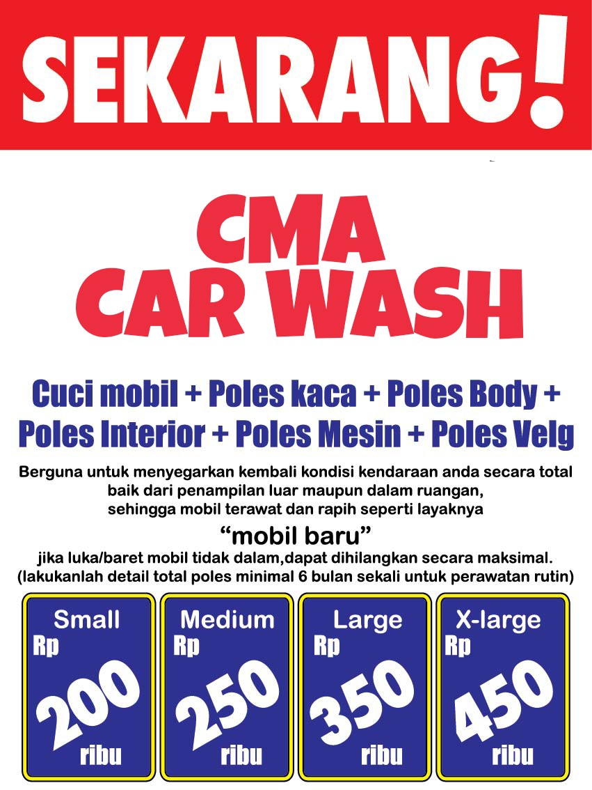 Peluang Waralaba Kemitraan Cuci Mobil Motor CMA Car Wash